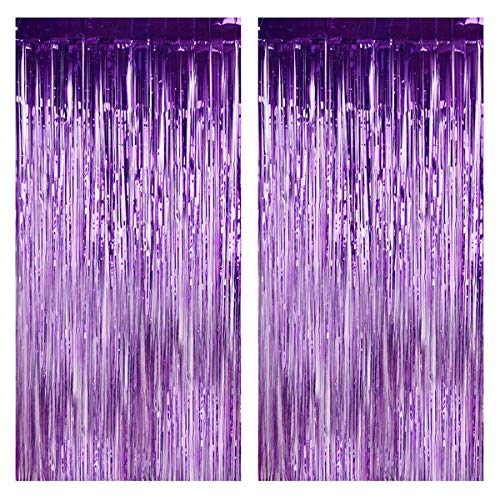 DODOING 2Pcs 3.2 ft x 9.8 ft Purple Metallic Foil Fringe Curtains for Party Photo Booth Backdrop for Wedding Birthday Party Stage Bachelorette Sweet 16 Christmas Decor]()