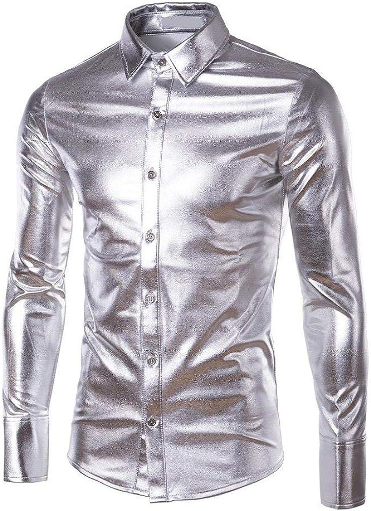 Tomatoa Hemden f/ür Herren Langarmhemd Metallic Gl/änzend Slim fit Freizeithemd Streetwear Kost/üm f/ür Nightclub Party Shirt f/ür M/änner Oberteile