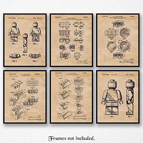 Original Lego Patent Art Poster Prints- Set of 6 (Six Photos) 8x10 Unframed- Great Wall Art Decor Gifts Under $20 for Home, Office, Garage, Man Cave, Student, Game Room SIgns]()