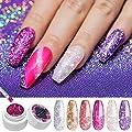 Modelones Glitter Gel Nail Polish + Painting Pen,Soak Off UV LED Super Platinum Nail Gel Manicure Nail Art Kit 6 Color Violet Series