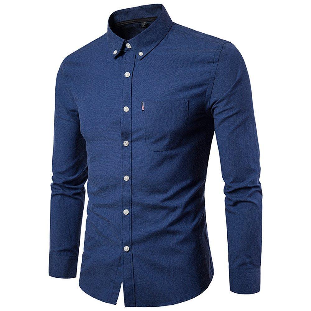 Shirts For Men,HOT SALE !! Farjing Autumn New Men's Slim Casual Solid Long Sleeve Shirt Blouse Top(2XL,Navy)