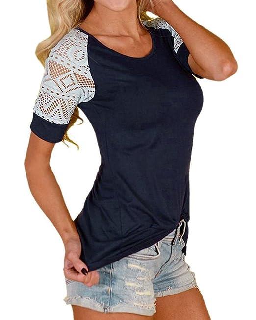 Minetom Verano Blusas para Mujer Casual Manga Corta Camiseta Elegante Cuello Redondo Cordón Encaje Patchwork Camisa
