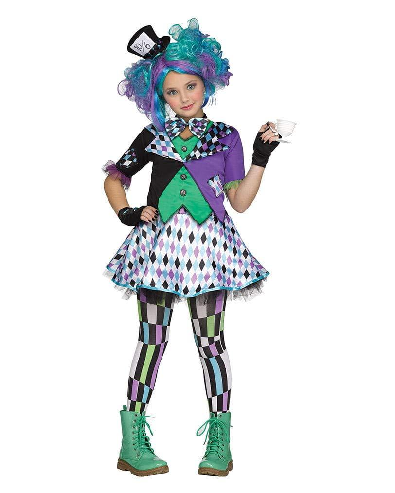Horror-Shop Mad Hatter Wunderland Kinder & Teenager Kostüm für Halloween & Fasching M