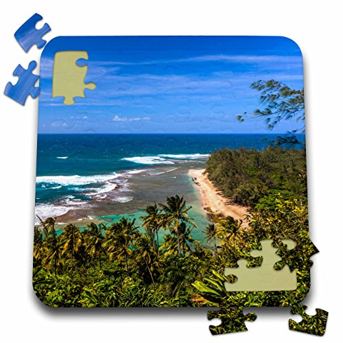 (3dRose Danita Delimont - Beaches - Tunnels Beach as seen from the Kalalau Trail in Kauai - 10x10 Inch Puzzle (pzl_205946_2))