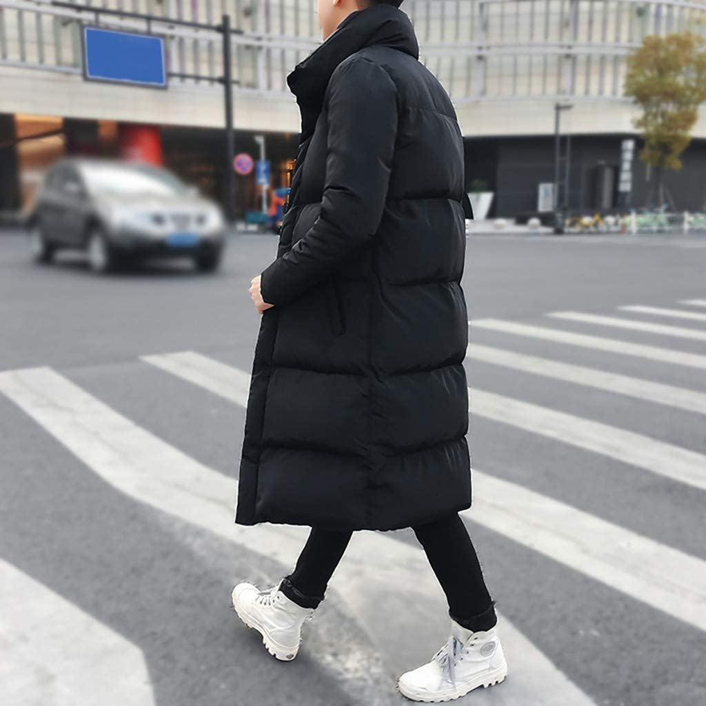 Eoeth Mens Winter Mid-Length Pure Color Thickened Hoodie Cotton-Padded Down Jacket Coat Warm Overcoat Windbreaker Outwear