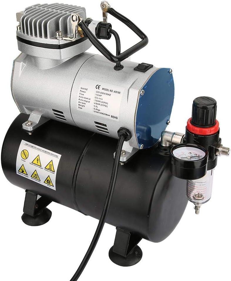 Aer/ógrafo con Compresor 220V EU Plug Compresor de Aer/ógrafo AS186 Aerografo Modelismo Compresor de Aire