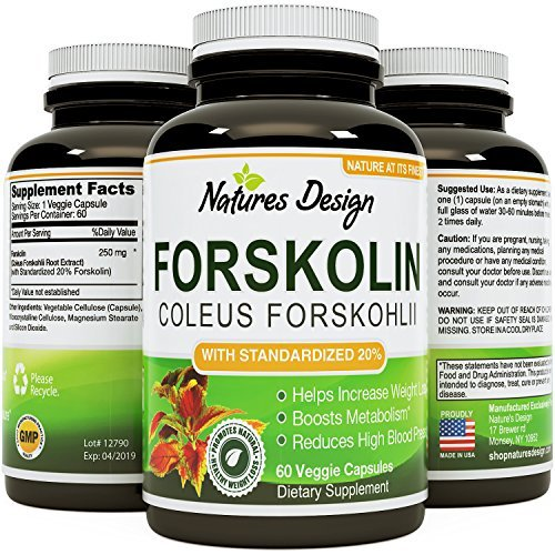 Pure Forskolin Extract for Weight Loss Supplement 60 V Capsules 1 Powerful Antioxidant - Maximum Strength Belly Buster - Healthy Weight Management - Get Lean & Trim For Men and Women by Natures Design
