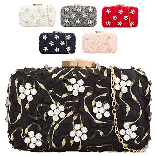 Bag Clutch Cocktail Box KTL2112 Women's Diamante Black Ladies Daisy Handbag Evening Satin wIqUFnpW