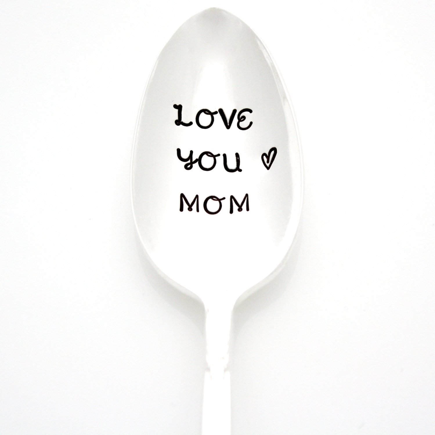 Love You Mom. Hand Stamped Vintage Coffee Spoon. Stamped Silverware by Milk & Honey Luxuries. Part of the Martha Stewart American Made Market.