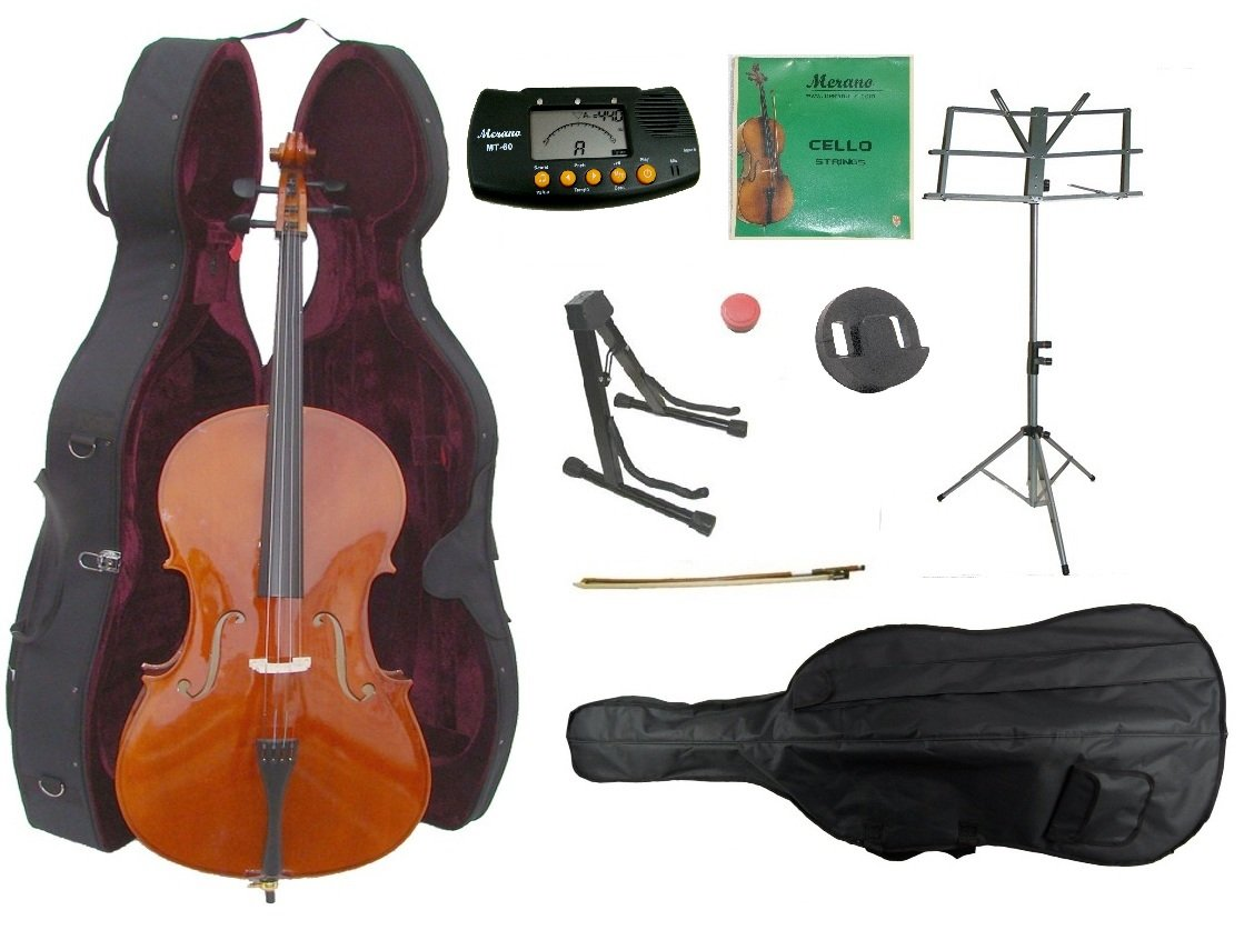 Merano 3/4 Size Cello with Hard Case, Bag and Bow+2 Sets of Strings+Cello Stand+Music Stand+Metro Tuner+Mute+Rosin