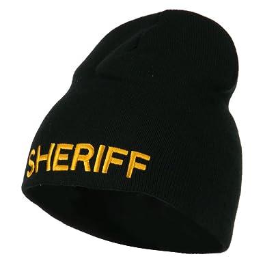 3c9876337ac Amazon.com  E4hats Sheriff Military Embroidered Beanie - Black OSFM ...