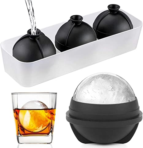 """Silicone Ice Sphere Cube Mold Maker Tray Whiskey For Round Ice Ball 2.5/"""" Large"""