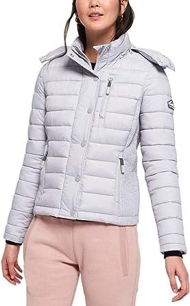 Superdry Womens Fuji Slim double zip Jacket Black Coat Fur Hooded