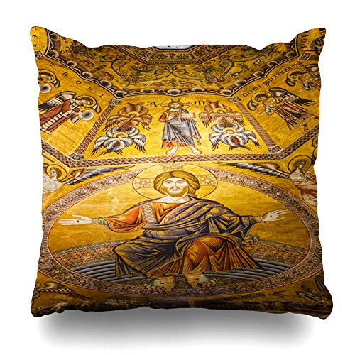 (Darkchocl Daily Decoration Throw Pillow Covers Italy Golden Saint Santa Square Pillowcase Cushion for Couch Sofa or Bed Modern Quality Design Cotton and Polyester 18