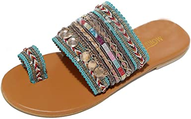 Women Flat Sandals Summer,SIN+MON Womens Boho Flip Flops Sandals Toe Ring Sandal Anti Slip Slippers Handmade Greek Style