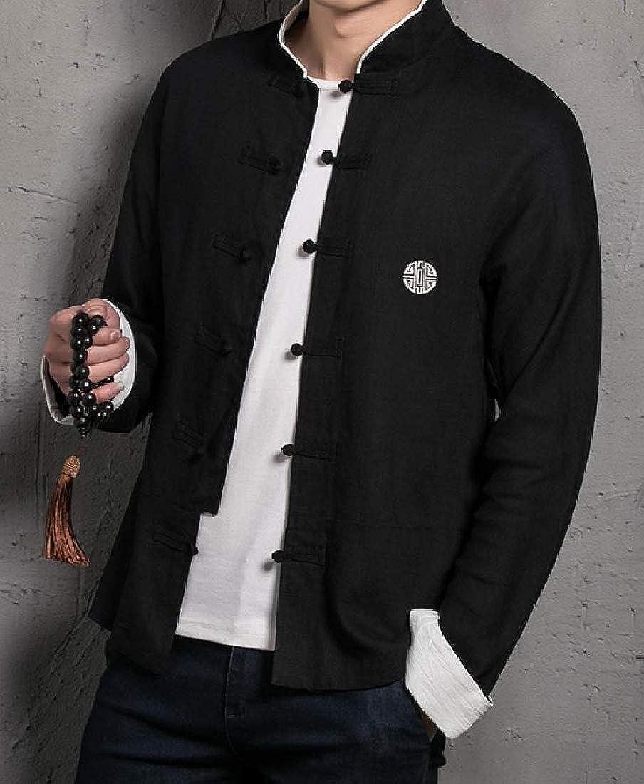 YUNY Men Embroidery Button-Down-Shirts Linen Cotton Retro Shirt Black M