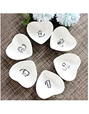 Cute Cat Ceramic Side Sauce Dishes Mini Heart shape Seasoning Dish, Sushi Soy Dipping Bowl,Serving Saucers Dishe,Meow Porcelain Small Tea Bag Holder Set of 6