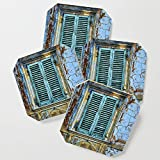 Society6 Drink Coasters, Vintage Windows by claudegariepy, set of 4