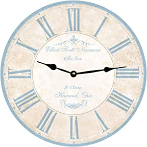 Baby Wall Clock No Ticking Round Wood Clock Blue Personalized Baby Vintage Home Decor Living Room Bedroom Office School Baby Room Clock
