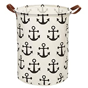 "Mintlyfe 17.7"" Large Size Laundry Hamper Storage Basket with Handles, Waterproof of Coating Canvas Fabric Kids Storage Bins for Baby Toys, Kid Toys, Baby Clothing, Books (Anchor)"