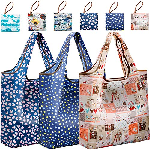 Bulk Reusable Grocery Bags Foldable for Purse Pouch | JARTON Floral Urban Shopping Bags Pack of 6 | Thickened Nylon Shopping Tote Bags with 35lbs Weight Capacity