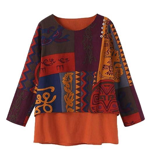 ab7157581893 Lmx+3f Women Print Hooded Irregular Hem Tops Retro Long Sleeve Loose Blouse  Pullover Shirt