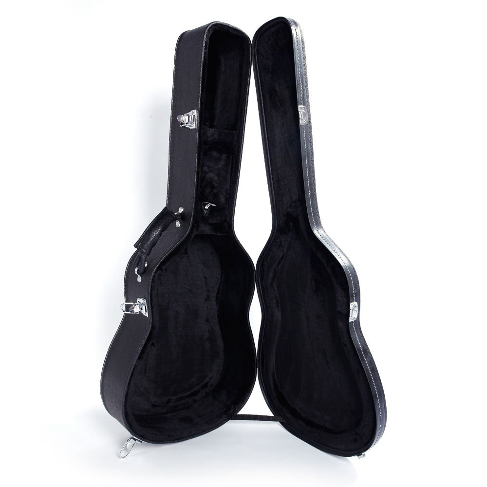 41'' Folk Guitar Hardshell Carrying Case Fits Most Acoustic Guitars Microgroove Flat Black