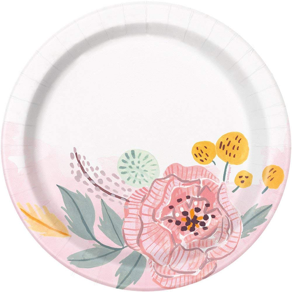 Painted Floral Round Dessert Party Plates, 8 Ct.