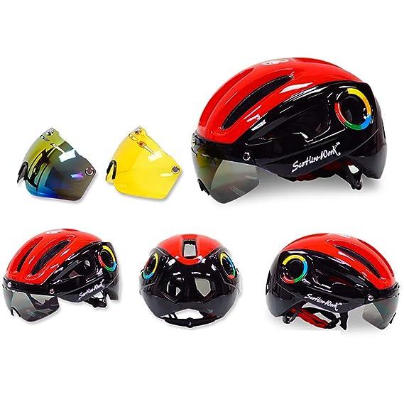 TKTTBD Ultralight Casco Bicicleta, Adulto Casco Bici con Visera Magnética Desmontable,Specialized Casco de Ciclismo ...