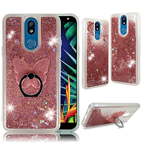 ZASE Clear Case for LG K40, LG X4 (2019), K12 Plus [Liquid Glitter Sparkle Bling] Cute Girls Woman Protective Soft Cover Shockproof Waterfall Floating Quicksand w/[Phone Ring Grip Holder] (Pink - Solos Softcover