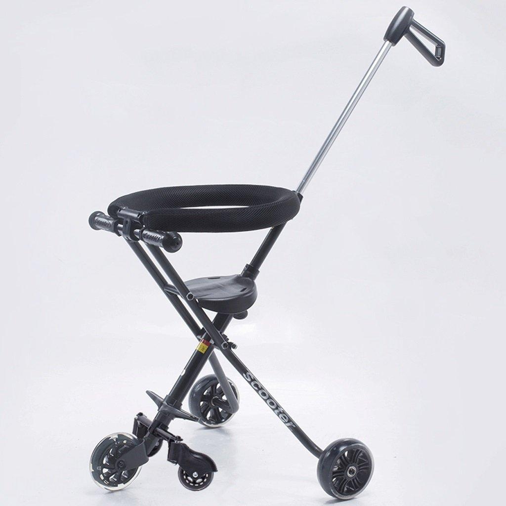 子供の手のプッシュTricycle Baby折りたたみ簡単なポータブルfive-wheeler 2 – 6-year-old子ベビーカー車、ホワイト、ブラック B07CG3LBVFブラック