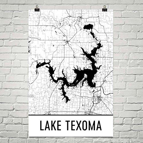Modern Map Art Lake Texoma Texas, Lake Texoma Oklahoma, Oklahoma Art, Texas Decor, Lake Map, Texoma OK Lake, Cottage Decor, Oklahoma Map, Texas Print Poster 24