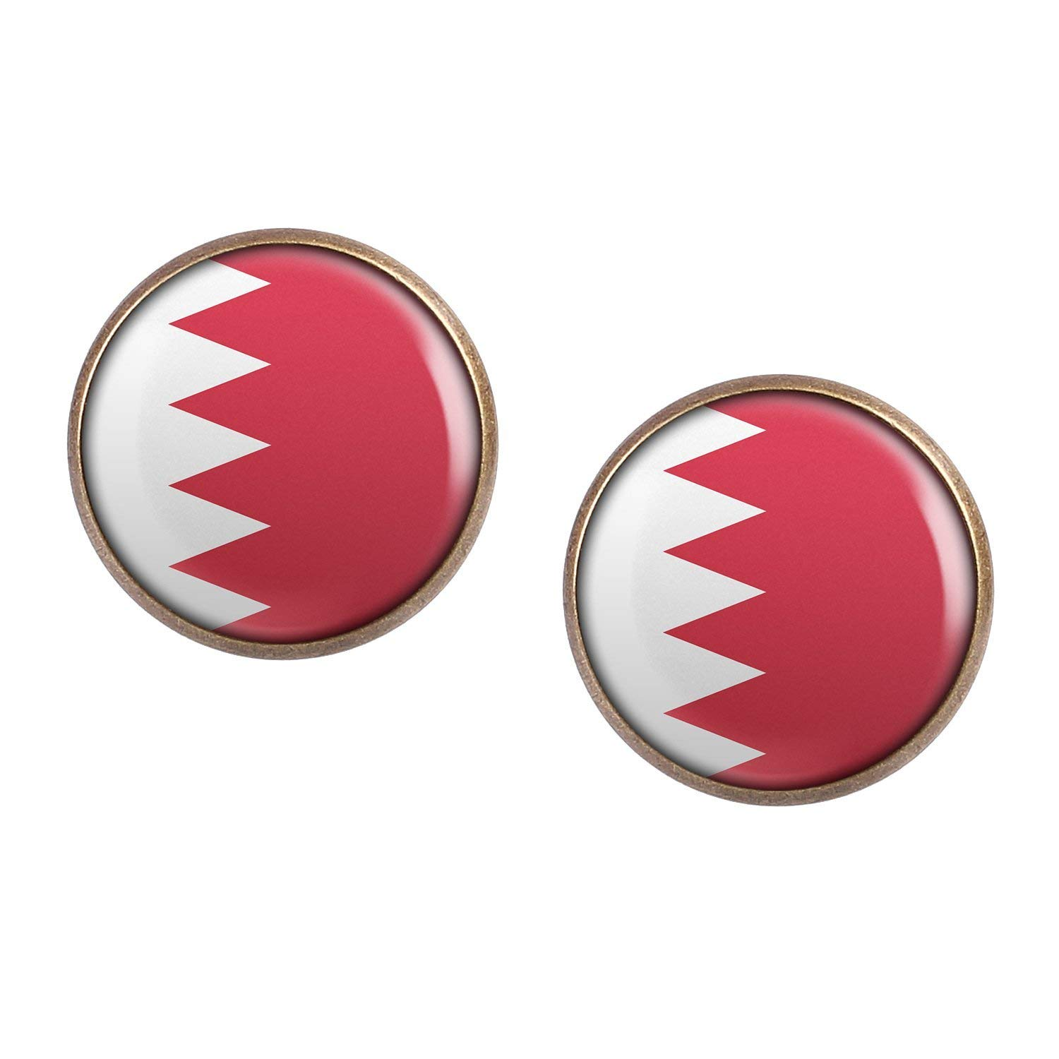 Stud Earring Pair with Cabochon Picture Manama Bahrain flag bronze different sizes