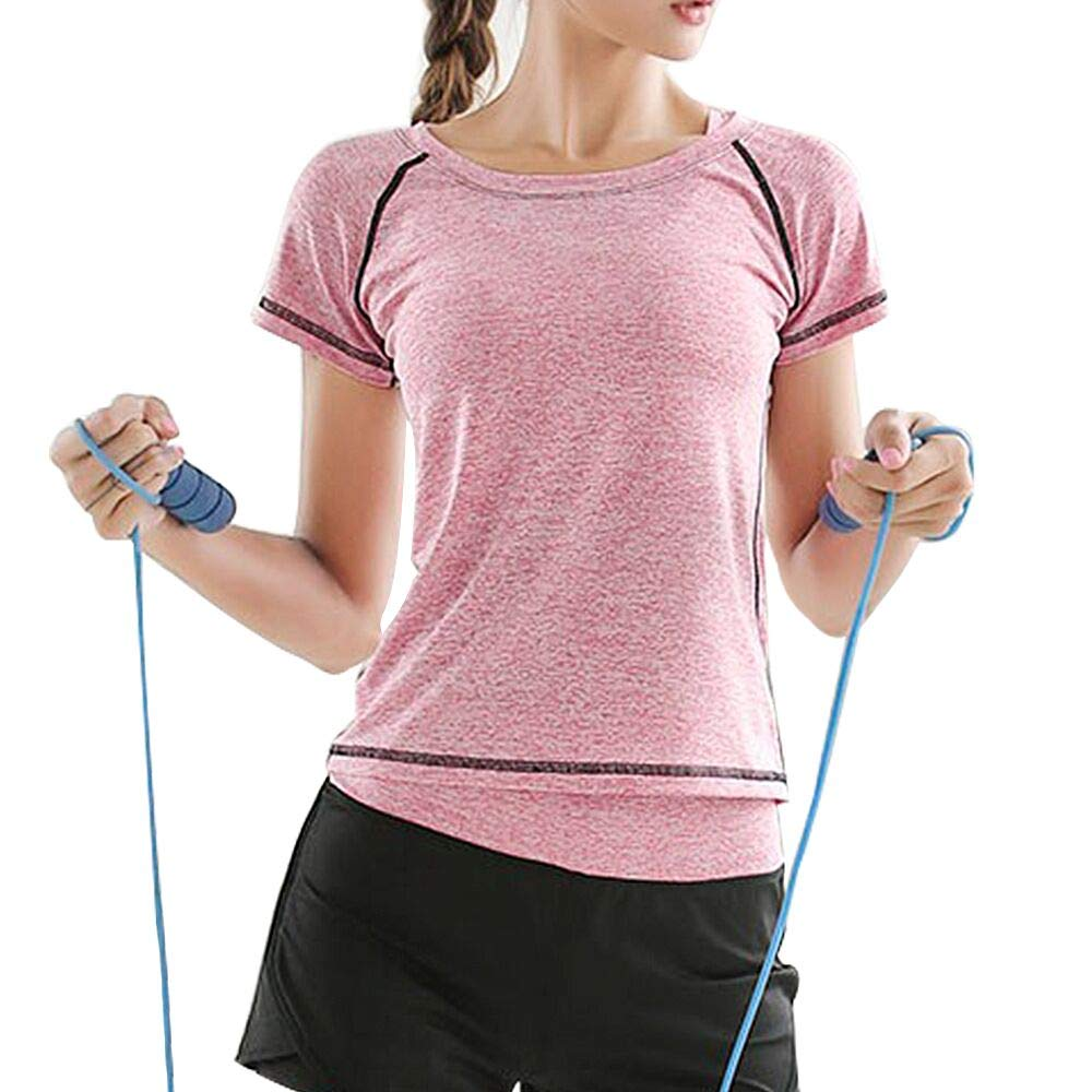 Pink Shirt Small La Dearchuu Running TShirts for Women Yoga Short Sleeves Fitness tees Sports Crew Neck Quick Dry US Size 28