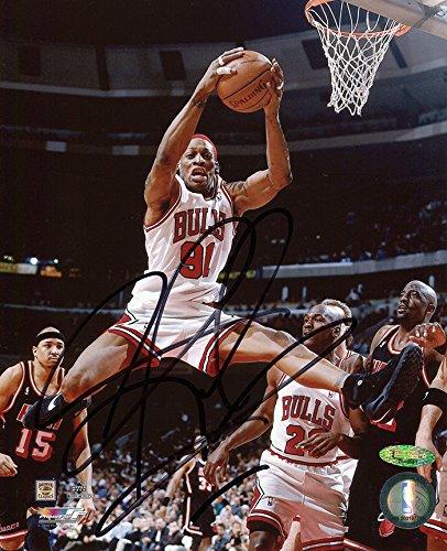 Dennis Rodman Signed Autographed Chicago Bulls Mid Air 8x10 Photo TRISTAR COA Dennis Rodman Hand Signed