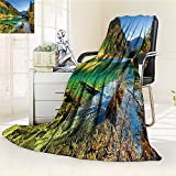 YOYI-HOME Luxury Double-Sides Reversible Fleece Duplex Printed Blanket Arrow Bamboo Lake Among Mountains and Colorful Fall Woods China Blue Green Yellow Travelling and Camping Blanket /W79 x H47