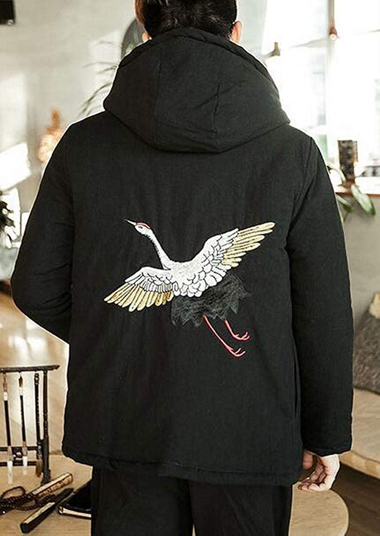 ARTFFEL Mens Plus Size Chinese Style Embroidery Hooded Baggy Quilted Jacket Coat Outerwear