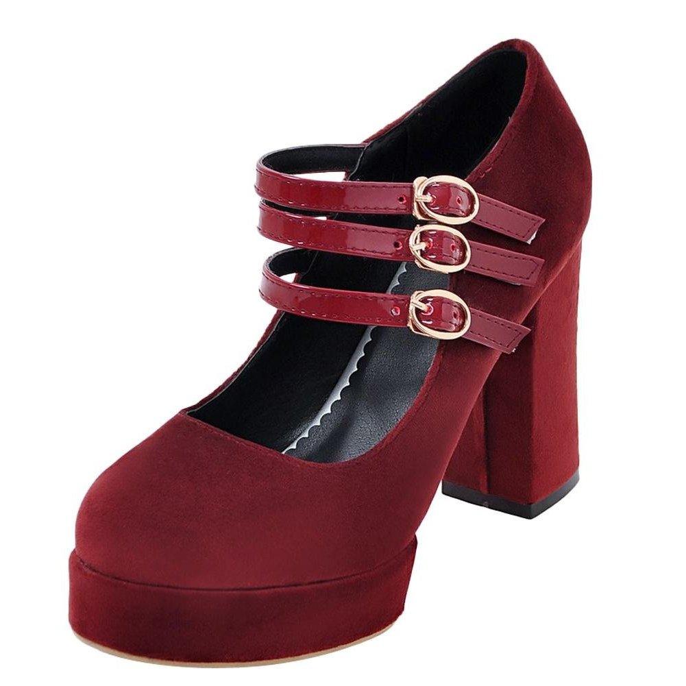 YE Damen Mary Janes Pumps Chunky Heels Plateau mit Schnalle Bequem Elegant Schuhe  37 EU|Rot