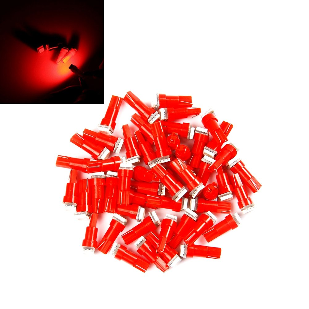 BAAQII 10 Pcs T5 5050 1 SMD Voiture LED Vert Tableau de Bord Plaque D'immatriculation Speed Wedge Ampoules TS Trade