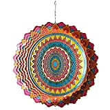 FONMY Stainless Steel Wind Spinner-3D Laser Cut Hand Painted with Color Sparkling Powders Indoor Outdoor Garden Decoration Crafts Ornaments 12 inch Multi Color Mandala Wind Spinners