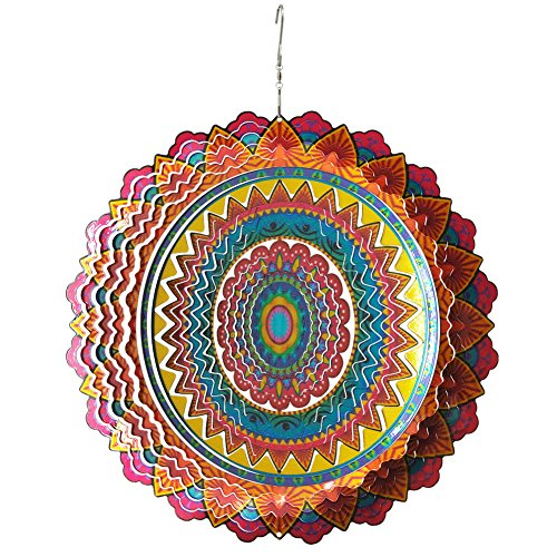 - FONMY Stainless Steel Wind Spinner-3D Laser Cut Hand Painted with Color Sparkling Powders Indoor Outdoor Garden Decoration Crafts Ornaments 12 inch Multi Color Mandala Wind Spinners
