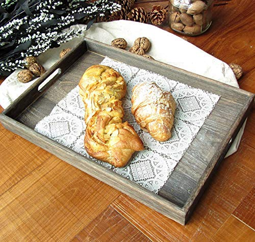 Large Wooden Tray with Handles,15.7 x 11.8 Inch Extra Thick Sturdy Handmade Rustic Torched Wood Country Nesting Breakfast Trays,Decorative Square Wood Serving Tray for - Large Rustic Tray