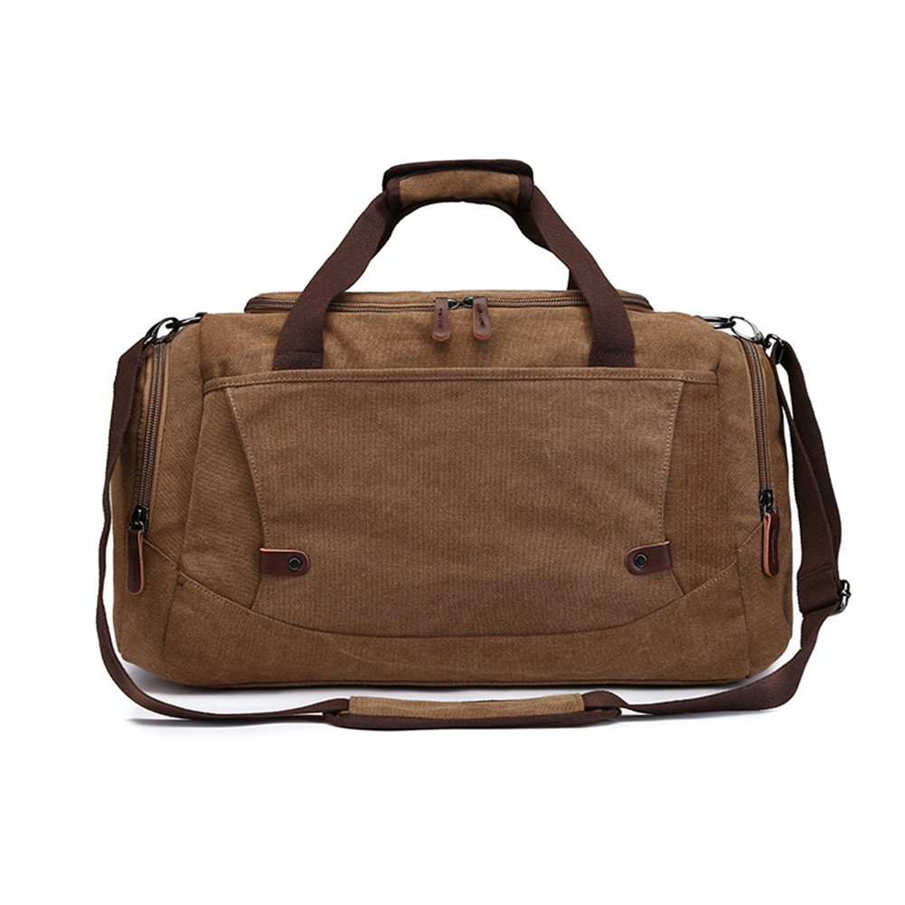 Mens Weekend Bag Overnight Bag Travel Duffles Bag for Men Canvas Holdall Carry-on Luggage with Shoulder Straps (Coffee)