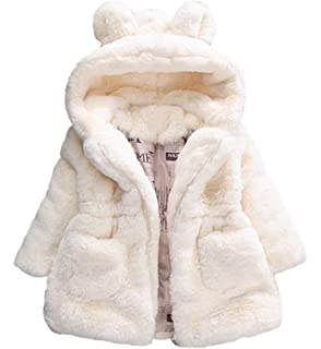 da457203d Amazon.com  Nevera Baby Girls Fur Autumn Winter Warm Coat Jacket ...