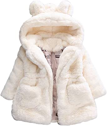 Baby Girl Outerwear Toddler Winter Warm Faux Fur Hooded Coat Thicken Jacket