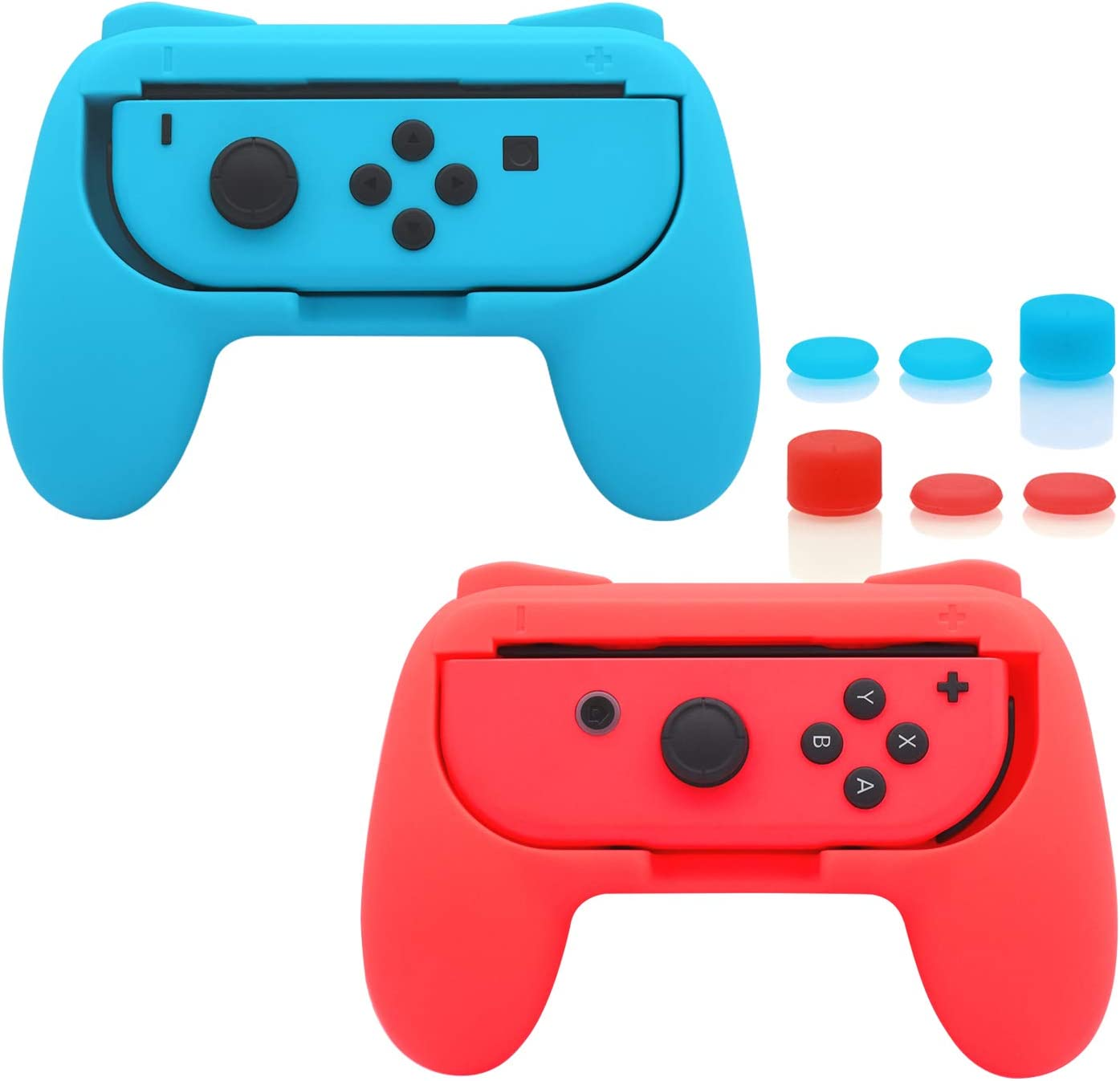 FastSnail Grips Compatible with Nintendo Switch Joy-Con, Wear-Resistant Handle Kit Compatible with Switch Joy Cons Controllers, 2 Pack (Blue and Red): Computers & Accessories