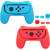 FastSnail Joy-Con Grips for Nintendo Switch Wear-Resistant Joy-Con Handle for Switch 2 Pack (Red and Blue)