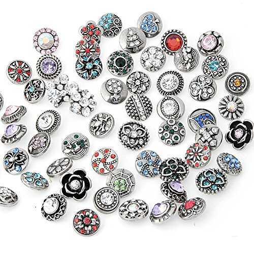 Ginooars Pack of 30 12mm Petite Rhinestones Snap Charms for Snap Bracelets Jewelry Supplies ()