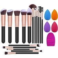 Makeup Brush Set, 16 Makeup Brushes & 4 Blender Sponges & 1 Brush Cleaner Premium Synthetic Foundation Powder Kabuki…