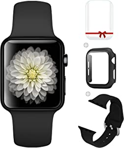 Foranyo 3 in 1 Compatible with Apple Watch Band 44mm 42mm 40mm 38mm, Soft Silicone Sport Replacement Strap Watch Band for Women & Men, Case with Tempered Glass Screen Protector Compatible with iWatch for Series SE 6 5 4 3 2 1 (Black, 38mm)